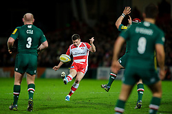 Gloucester Fly-Half (#10) Freddie Burns attempts a drop goal unsuccessfully during the first half of the match - Photo mandatory by-line: Rogan Thomson/JMP - Tel: Mobile: 07966 386802 - 29/11/2013 - SPORT - RUGBY UNION - Kingsholm Stadium, Gloucester - Gloucester Rugby v Leicester Tigers - Aviva Premiership.