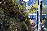 PERU, MACHU PICCHU:  Perurail's Vistadome train runs through the Urubamba Valley on the way from Cusco to Machu Picchu.