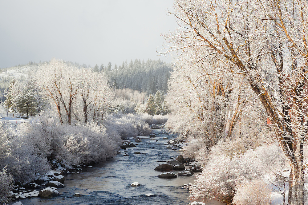 """Snowy Truckee River 3"" - Photograph of a snowy Truckee River shot in Downtown Truckee, California."