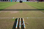 The wicket for the Specsavers County Champ Div 2 match between Leicestershire County Cricket Club and Lancashire County Cricket Club at the Fischer County Ground, Grace Road, Leicester, United Kingdom on 23 September 2019.