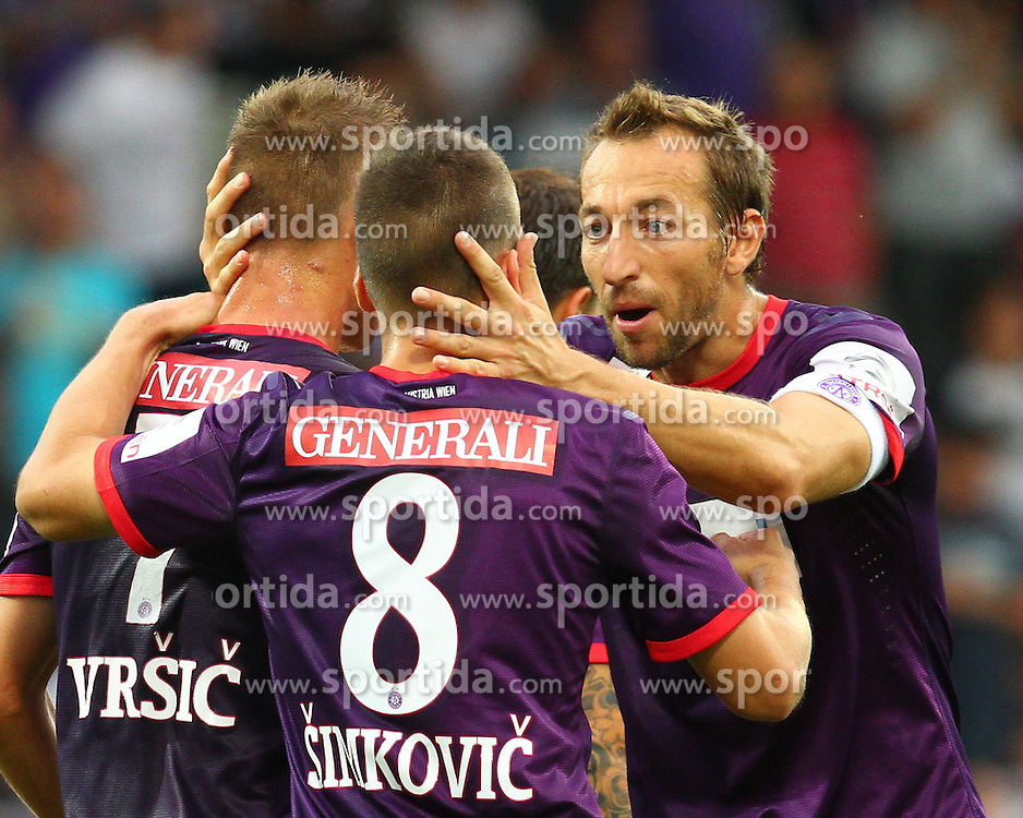25.08.2012, Generali Arena, Wien, AUT, 1. FBL, FK Austria Wien vs FC Wacker Innsbruck, im Bild Torjubel Dare Vrsic, (FK Austria Wien, #7), Tomas Simkovic, (FK Austria Wien, #8) und Manuel Ortlechner, (FK Austria Wien, #14) // during Austrian Bundesliga Football Match, round 6, between FK Austria Vienna and FC Wacker Innsbruck at the Generali Arena, Wien, Austria on 2012/08/25. EXPA Pictures © 2012, PhotoCredit: EXPA/ Thomas Haumer