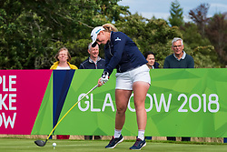 Gleneagles, Scotland, UK; 8 August, 2018.  European Championships 2018. Day one of golf competition at Gleneagles..Men's and Women's Team Championships Round Robin Group Stage - 1st Round. Four Ball Match Play format. Match 13 Great Britain 2 v Sweden 1 Ladies. Catriona Matthew and Holly Clyburn won 3 and 2. Pictured; Holly Clyburn tees off on 16th hole.