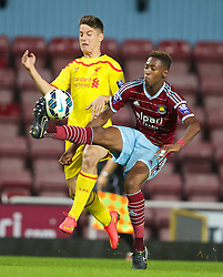 UPTON PARK, ENGLAND - Friday, September 12, 2014: Liverpool's Sergi Canos in action against West Ham United's Reece Oxford during the Under 21 FA Premier League match at Upton Park. (Pic by David Rawcliffe/Propaganda)