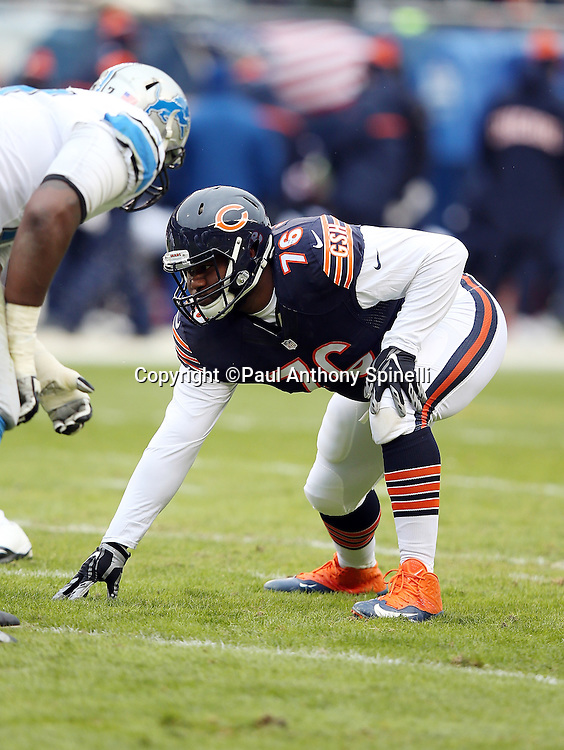 Chicago Bears nose tackle Bruce Gaston (76) gets set during the NFL week 17 regular season football game against the Detroit Lions on Sunday, Jan. 3, 2016 in Chicago. The Lions won the game 24-20. (©Paul Anthony Spinelli)