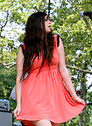Madeline Follin of the Cults performs at Central Park SummerStage on August 7, 2011 in New York City.