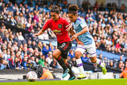 Manchester United Women forward Jessica Sigsworth (9) and Manchester City Women defender Demi Stokes (3) in action during the FA Women's Super League match between Manchester City Women and Manchester United Women at the Sport City Academy Stadium, Manchester, United Kingdom on 7 September 2019.