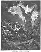 Destruction of the Army of Sennacherib 2 Kings 19:35 From the book 'Bible Gallery' Illustrated by Gustave Dore with Memoir of Dore and Descriptive Letter-press by Talbot W. Chambers D.D. Published by Cassell & Company Limited in London and simultaneously by Mame in Tours, France in 1866