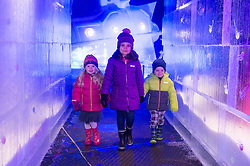 © Licensed to London News Pictures. 16/11/2017. London, UK. Ruby Darrah aged 3, Gabrielle Nijjer aged 6 and Jack Dury walk around the ice sculptures on display as part of the Deep Sea Adventure. The Magical Ice Kingdom is the largest indoor ice and snow sculpture experience in Europe and part of the Hyde Park Winter Wonderland. Photo credit: Ray Tang/LNP