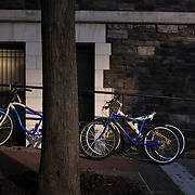 October 4, 2016 - New York, N.Y. : Bicycles are chained to a railing at the back of Wingate Hall at the<br /> City College of New York on Tuesday afternoon, October 4. <br /> CREDIT: Karsten Moran for The New York Times