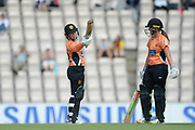 Tammy Beaumont of Southern Vipers raises her bat towards the vipers bench on reaching her half century during the Women's Cricket Super League match between Southern Vipers and Yorkshire Diamonds at the Ageas Bowl, Southampton, United Kingdom on 8 August 2018.