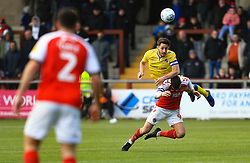 Tom Lockyer of Bristol Rovers wins a header above Ched Evans of Fleetwood Town - Mandatory by-line: Matt McNulty/JMP - 27/04/2019 - FOOTBALL - Highbury Stadium - Fleetwood, England - Fleetwood Town v Bristol Rovers - Sky Bet League One