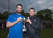 18/05/2017 - DC Athletic captain Graeme McKenna is presented with the George McArthur Memorial Cup by Dundee Saturday Morning League President Iain Leith - FC Boukir (light blue and white) v DC Athletic in the George McArthur Memorial Cup Final at North End Park, Dundee, Picture by David Young -