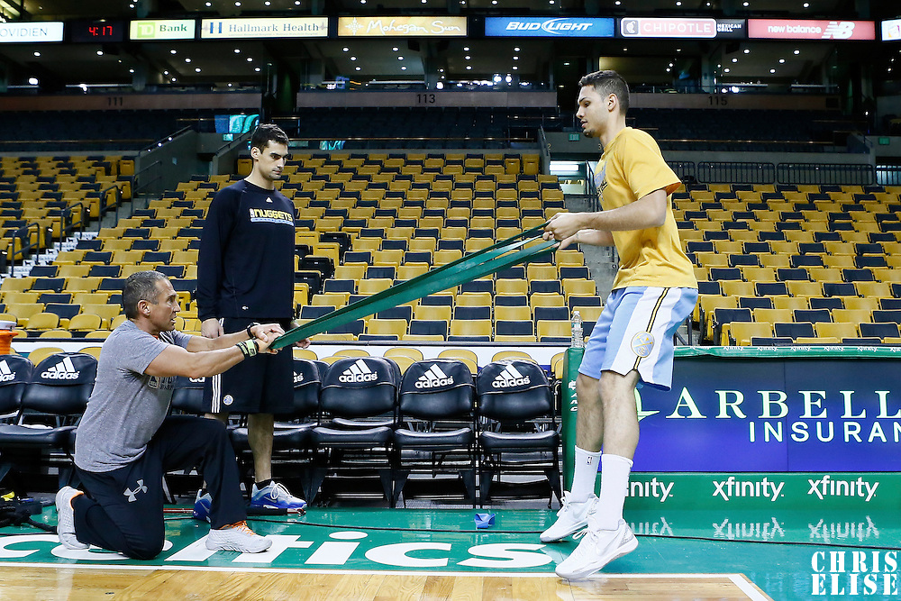 10 February 2013: Denver Nuggets Evan Fournier warms up prior to the Boston Celtics 118-114 3OT victory over the Denver Nuggets at the TD Garden, Boston, Massachusetts, USA.