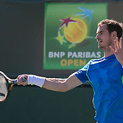 March 10, 2015, Indian Wells, California:<br /> Andy Murray hits a forehand during a practice session at the Indian Wells Tennis Garden in Indian Wells, California Tuesday, March 10, 2015.<br /> (Photo by Billie Weiss/BNP Paribas Open)