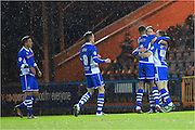 Joe Bunney Goal Celebration during the Sky Bet League 1 match between Rochdale and Crewe Alexandra at Spotland, Rochdale, England on 16 February 2016. Photo by Daniel Youngs.