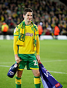 Norwich City midfielder Kenny McLean (23)  celebrates promotion to the Premier League after the EFL Sky Bet Championship match between Norwich City and Blackburn Rovers at Carrow Road, Norwich, England on 27 April 2019.