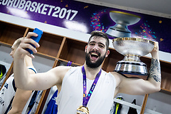 Ziga Dimec of Slovenia celebrating in a locker room after winning during the Final basketball match between National Teams  Slovenia and Serbia at Day 18 of the FIBA EuroBasket 2017 when Slovenia became European Champions 2017, at Sinan Erdem Dome in Istanbul, Turkey on September 17, 2017. Photo by Sportida