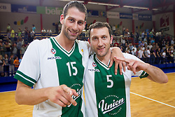 Vladimir Dasic and Goran Jeretin of Olimpija celebrate after the basketball match between KK Helios Domzale and KK Union Olimpija Ljubljana in 2nd semifinal of Telemach Slovenian Champion League 2011/12, on May 10, 2012 in Arena Komunalni center, Domzale, Slovenia. Union Olimpija defeated Helios 81-78 after overtime and qualified to finals. (Photo by Vid Ponikvar / Sportida.com)
