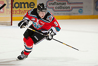 KELOWNA, CANADA - OCTOBER 10: Zach Franko #9 of the Kelowna Rockets skates on the ice and calls for the pass as the Spokane Chiefs visit the Kelowna Rockets on October 10, 2012 at Prospera Place in Kelowna, British Columbia, Canada (Photo by Marissa Baecker/Shoot the Breeze) *** Local Caption ***