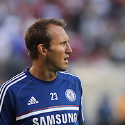 Chelsea Goalkeeper Mark Schwarzer warming up before the Chelsea V AC Milan Guinness International Champions Cup tie at MetLife Stadium, East Rutherford, New Jersey, USA.  4th August 2013. Photo Tim Clayton