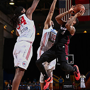 Sioux Falls Skyforce Guard RODNEY MCGRUDER (4) attempts a short range shot as Delaware 87ers Forward CHARLES JACKSON (34) defends in the first half of a NBA D-league regular season basketball game between the Delaware 87ers and the Sioux Falls Skyforce Friday, Mar. 25, 2016, at The Bob Carpenter Sports Convocation Center in Newark, DEL.