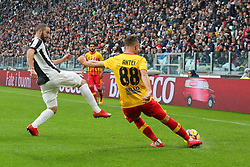 November 5, 2017 - Turin, Italy - Luca Antei (Benevento Calcio) and Gonzalo Higuain (Juventus FC)  compete for the ball during the Serie A football match between Juventus FC and Benevento Calcio on 05 November 2017 at Allianz Stadium in Turin, Italy. (Credit Image: © Massimiliano Ferraro/NurPhoto via ZUMA Press)