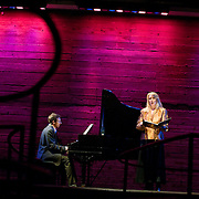 January 14, 2012 - Brooklyn, NY :  From left, pianist Michael Rose and soprano Deborah van Renterghem perform the work of Charles Ives at the Galapagos Art Space in DUMBO, Brooklyn, on Saturday evening..CREDIT: Karsten Moran for The New York Times