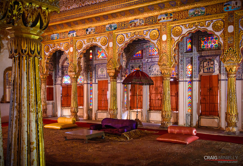 The beauty of palace rooms & architecture within the Mehrangarh Fort in Jodhpur, India.