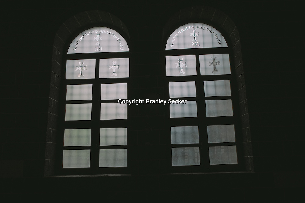 The windows of the Surp Giragos Armenian church in Diyarbakir, where Ermen Demircian works as a caretaker.