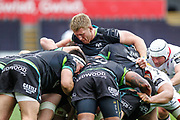 Ospreys second row Bradley Davies leads the maul during the Guinness Pro 12 2017 Round 21 match between Ospreys and Ulster at the Liberty Stadium, Swansea, Wales on 29 April 2017. Photo by Andrew Lewis.