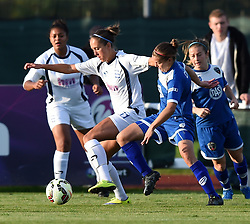 Loren Dykes of Bristol Academy Women tussles with Josanne Potter of Birmingham City Ladies - Mandatory by-line: Paul Knight/JMP - Mobile: 07966 386802 - 05/09/2015 -  FOOTBALL - Stoke Gifford Stadium - Bristol, England -  Bristol Academy Women v Birmingham City Ladies FC - FA Women's Super League