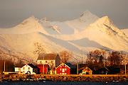 Fishing village Kosnes with Vesteralen and Lofoten mountains