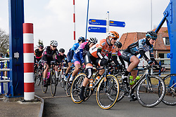 Amalie Dideriksen crosses the canal at Drentse 8 van Westerveld 2018 - a 142 km road race on March 9, 2018, in Dwingeloo, Netherlands. (Photo by Sean Robinson/Velofocus.com)