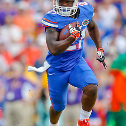 Oct 12, 2013; Baton Rouge, LA, USA; Florida Gators running back Kelvin Taylor (21) runs against the LSU Tigers during the second half of a game at Tiger Stadium. LSU defeated Florida 17-6. Mandatory Credit: Derick E. Hingle-USA TODAY Sports