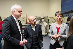 Pictured: Maggie Chapman, Mike Ruskell and Patrick Harvie<br /> <br /> As part of the final few days of the election campain Greens Co-convenors Patrick Harvieand Maggie Chapman along with local candidate Mark Ruskell met a wind turbine class at Fife College. Students are studying City and Guilds qualifications in wind turbine technology as the colleage strive to become a centre of excellence in wind turbine technology.<br /> <br /> Ger Harley | EEm 29 April 2016