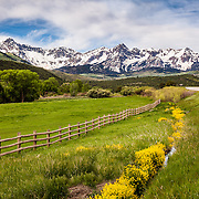 Mount Sneffels and the Sneffles Range of the Rocky Mountains (called the Dallas Divide) in springtime near Ridgway, Colorado