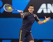 Novak  Djokovic (SRB) Men's Champion<br /> Rod Laver Arena . Day 14. Mens Singles Final. Australian Open Grand Slam Tennis Championship. Melbourne Olympic Park, Melbourne, Victoria, Australia. 27/01/2013. © 2013 Sport the library /Lucas Wroe