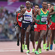 Mo Farah, Great Britain, wins the Gold Medal in the Men's 5000m Final at the Olympic Stadium, Olympic Park, during the London 2012 Olympic games. London, UK. 11th August 2012. Photo Tim Clayton