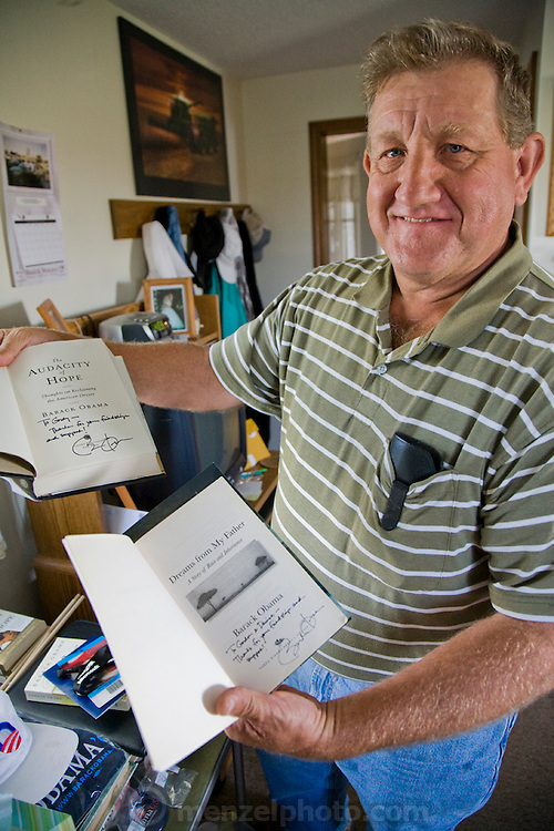 Illinois grain farmer Gordon Stine shows off signed copies of Barack Obama's books, The Audacity of Hope and Dreams from My Father at his home in St. Elmo, Illinois.  (Gordon Stine is featured in the book What I Eat; Around the World in 80 Diets.)