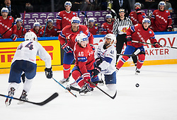 Mathis Olimb of Norway vs Patrick Thoresen of Norway during the 2017 IIHF Men's World Championship group B Ice hockey match between National Teams of Norway and France, on May 6, 2017 in Accorhotels Arena in Paris, France. Photo by Vid Ponikvar / Sportida