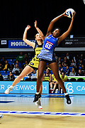 Mystics Grace Nweke (R) grabs the ball.<br /> Mystics v Pulse, ANZ Premiership, The Trusts Arena, Auckland, New Zealand. 20 May 2019. © Copyright Image: Marc Shannon / www.photosport.nz.