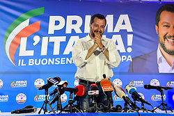 May 27, 2019, Milan, Italiy: MATTEO SALVINI, The far-right League party leader and Italy's deputy prime minister, speaks at a news conference following the European Parliament election results on Monday. Salvini triumphed in European elections, and took nearly 35 percent of the Italian vote. (Credit Image: © Claudio Furlan/LaPresse via ZUMA Press)