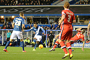 Birmingham City midfielder Jacques Maghoma shoots during the Sky Bet Championship match between Birmingham City and Milton Keynes Dons at St Andrews, Birmingham, England on 28 December 2015. Photo by Alan Franklin.