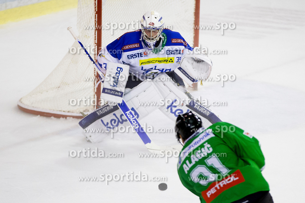 Oliver Roy of EC VSV and Adis Alagic of HDD Olimpija during the Erste Bank Icehockey League 1st Round between HDD Olimpija Ljubljana and EC VSV, on September 16, 2016, in Hala Tivoli, Ljubljana, Slovenia. Photo by Urban Urbanc / Sportida