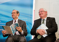 The Science and Technology Festival programme was launched at NUI, Galway  by Mr. William Hawkins, Chairman and CEO of Medtronic Inc., who employ 2000 people in Ireland and 44,000 worldwide in the Medical devices sector sitting with  Noel Treacy TD. The Festival runs from the 8th till the 21st of November in County Galway. Photo:Andrew Downes.