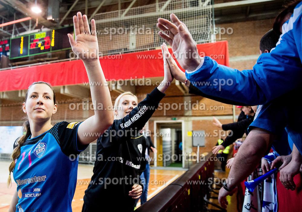Neza Avbelj of Krim after the 2nd Leg handball match between RK Krim Mercator and HC Lada Togliatti (RUS) in Semifinal of Women Cup Winners' Cup 2015/16, on April 9, 2016 in Arena Kodeljevo, Ljubljana, Slovenia. Photo by Vid Ponikvar / Sportida