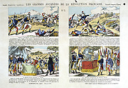 Great Days of the French Revolution: No 3.  Top:  Carnot at Battle of Wattignies, 1793. Hoche at Wissembourg, December 1793. Bottom: Hoche pacifying the Vendee. Captured enemy flags presented to the Republic, 1795. Print.