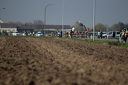 The peloton starts riding on the Lange Munte, the first cobbled section of the Ronde Van Vlaanderen - a 153.2 km road race, starting and finishing in Oudenaarde on April 2, 2017, in East Flanders, Belgium.