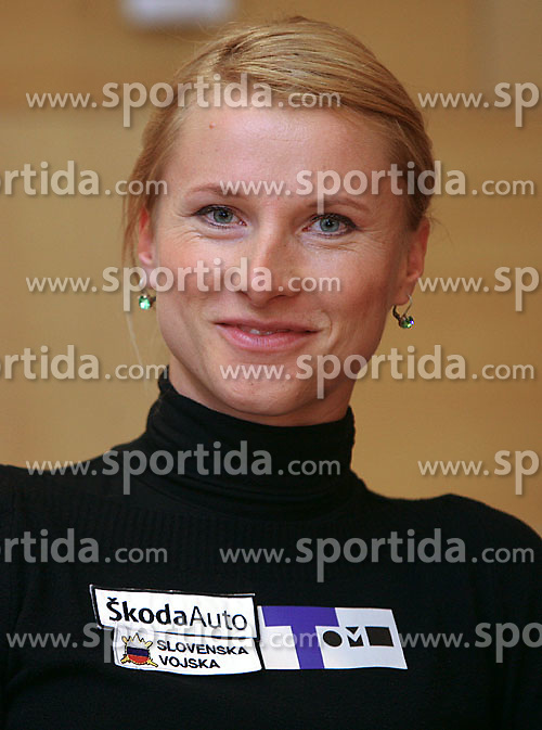 Brigita Langerholc when Athletic Federation of Slovenia (AZS) and top Slovenian athletes sign a contract of sponsorship, on February 14, 2008 in M-Hotel, Ljubljana, Slovenia. (Photo by Vid Ponikvar / Sportal Images)