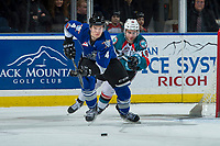 KELOWNA, CANADA - FEBRUARY 12: Dillon Dube #19 of the Kelowna Rockets back checks Ralph Jarratt #4 of the Victoria Royals as he skates from behind the net with the puck  on February 12, 2018 at Prospera Place in Kelowna, British Columbia, Canada.  (Photo by Marissa Baecker/Shoot the Breeze)  *** Local Caption ***